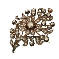Oud hollandse broche met roos geslepen diamanten ca. 1 ct.