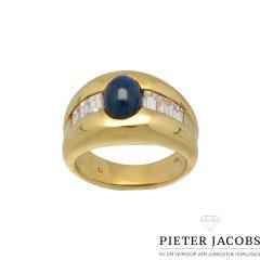 18 Krt. Geelgouden ring met Saffier en Baguette Diamant