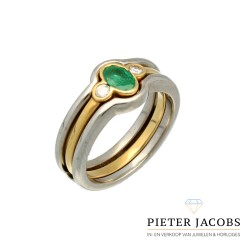 18 Krt. chachet ring met smaragd & briljant