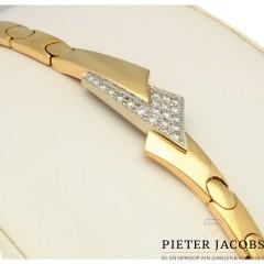 18 krt Massief gouden armband met briljant 0.40 Ct. Gereserveerd