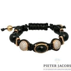 Exclusieve armband 18Krt. goud Briljant & Onyx by