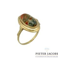 14 krt Vintage gouden ring met Mosagaat
