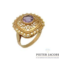 Vintage gouden ring met roze kwarts