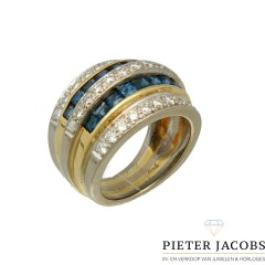 18 krt Bi-Color ring bezet met Briljant en Saffier