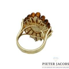 14 Krt Gouden ring met Jade & Tijgeroog