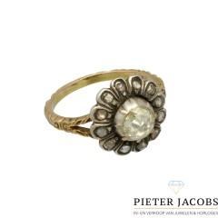 14 krt Vintage ring Roos geslepen Diamanten in zilver gezet