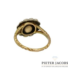 Gouden Art deco ring gezet met Roos geslepen Diamant