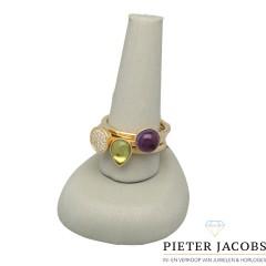 14 Krt. koppel ringen bezet met Briljant, Peridot en Amethist