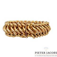 18 Krt Franse gourmet armband, massief 90,3 gram