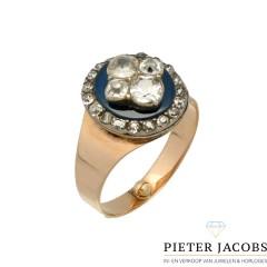 Rosegouden Antieke ring met oud slijpsel diamant, Bolsjewieck