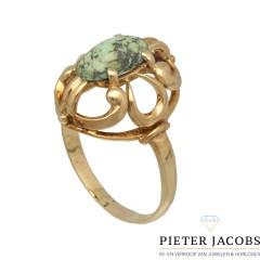 14Krt. geelgouden Vintage ring gezet met Turquoise