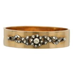 Antiek gouden armband bezet met Roos geslepen diamanten Ca. 1900