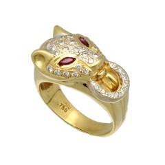 18 Krt. Geelgouden Panter ring, Briljanten & robijn