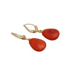 Vintage oorbellen met rode Jaspis, 14 krt goud.