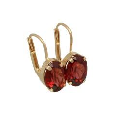 14 krt Vintage oorbellen met rode korund