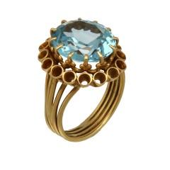 18 Krt gouden vintage ring met blauwe topaas