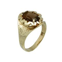 Handgemaakte gouden ring met Smokey Quartz