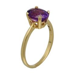 14 Krt. Gouden solitair ring met Amethist