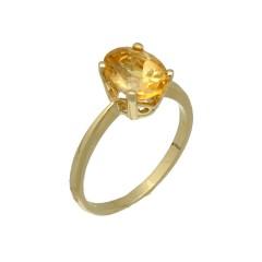 14 Krt. Gouden solitair ring met Citrien
