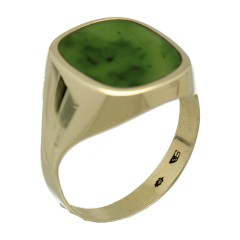 14 Krt gouden ring met Jade
