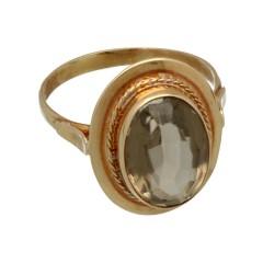 Rose gouden vintage ring met Smokey Topaz.