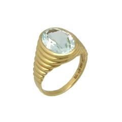 14 Krt. Geelgouden Zegel ring bezet met Aquamarijn