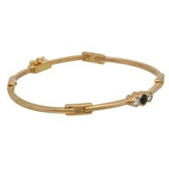 14Krt. gouden armband gezet met blauwe saffier en Briljant 0.20Ct.