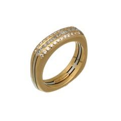18 krt gouden ring met Diamant ca 0.45 Ct