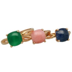 Set van18 krt Roségouden kleursteen ringen.