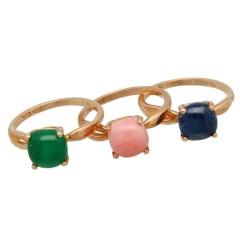 18 krt Rosé gouden kleursteen ringen.
