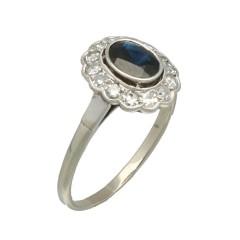 Witgouden Rozet ring met diamant en blauwe saffier.