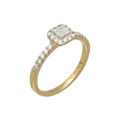 Geelgouden ring bezet met Briljant en Baguette Diamant
