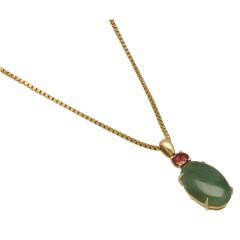 18 krt gouden collier en hanger met Jade en Toermalijn