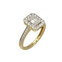 14 krt gouden ring met Briljant en Baguette Diamant 0.47 Ct