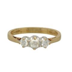 Klassieke Alliance ring met 3 diamanten 0.25 Ct