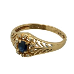 18 krt gouden ring Saffier-Diamant
