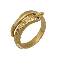 22 krt gouden Slangen ring met diamant en saffier
