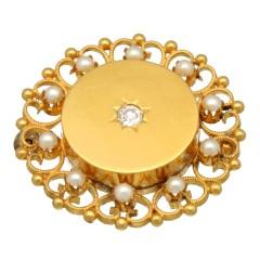 14 Krt Antiek gouden broche bezet met Diamant en Parels