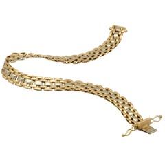 14 krt gouden bi-color armband, panthere schakel.