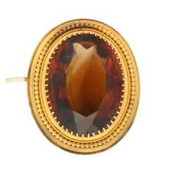 Oud Hollandse Broche met manderijn granaat