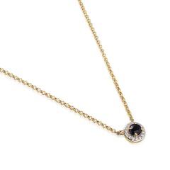 14 krt fijn gouden collier met Diamant en Saffier.