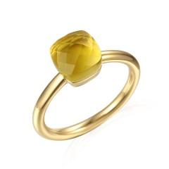 14 krt gouden ring met Lemon Quartz
