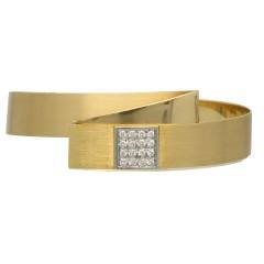 18 krt massief gouden armband met Briljant. Handgemaakt!