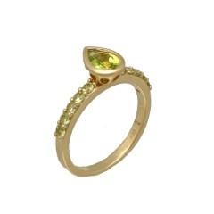 14 krt gouden ring met Peridot.