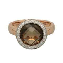Rosé gouden ring met Rook Quartz en Briljant.