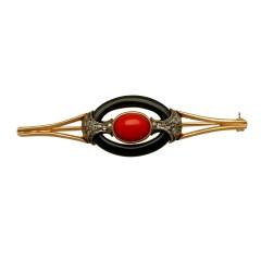 Gouden Broche met Diamant-Bloedkoraal en Onix