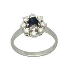 14 krt witgouden entourage ring met briljanten en blauwe saffier