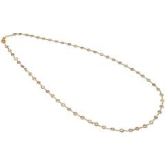14Krt. goud collier gezet met Rozenkwarts, Amethist & Topaas