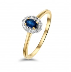 14 krt gouden rozet ring met Briljant en Blauwe saffier