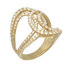14Krt. gouden Fantasie ring gezet met Briljant 1.18Ct.